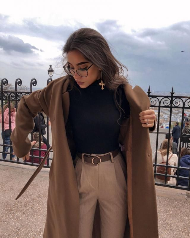If you like to keep things classy and edgy try this outfit, long brown coat over turtleneck bodysuit and khaki pants   …