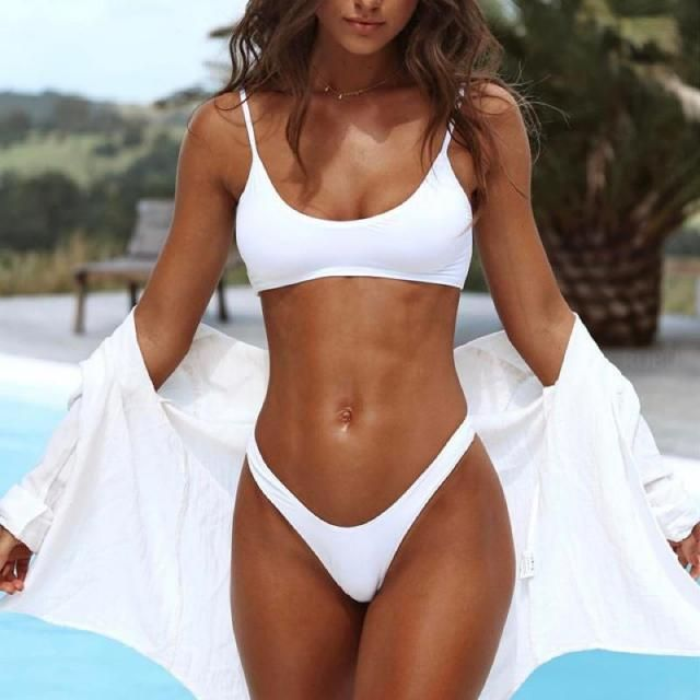 The white bikini set and sunny days are a combination that will delight you every day. You have to try, you need to wea…
