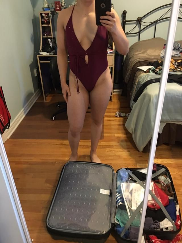 A little cheeky both in the front and in the back but I think it looks super good. I'm not very chesty (34B) so depend…