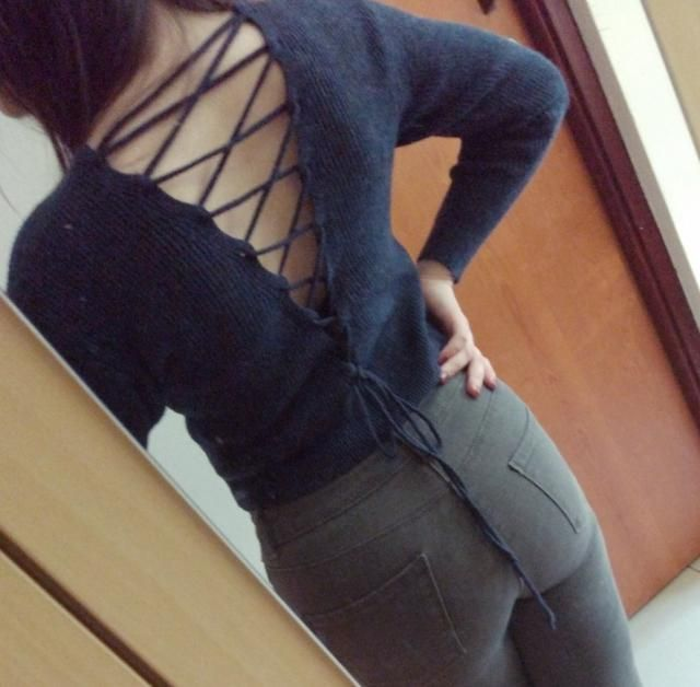 I like this sweater so much! It&;s really warm even though there&;s a cutout on the back. Also, it&;s cropped so it go…