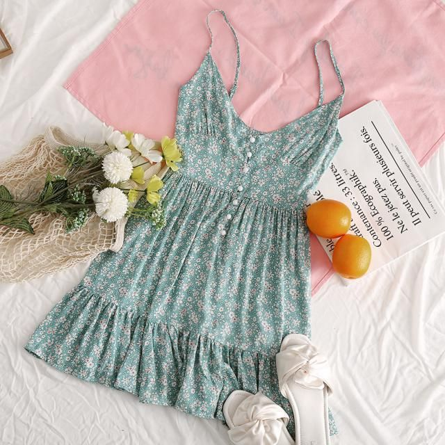 Summer Essential - Floral Print Dress with 3 different colors: Baby Blue, Flamingo Pink, and Light Aquamarine. Which co…