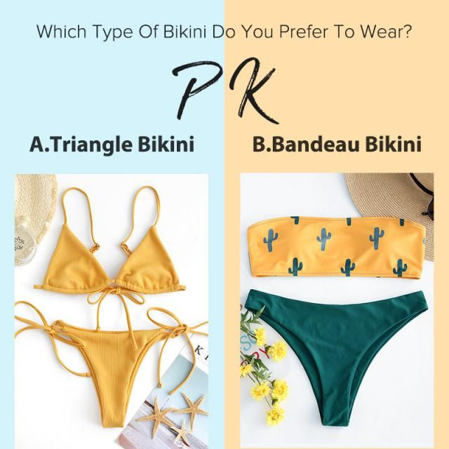 Which type of bikini do you prefer to wear? A.Triangle bikini B.Bandeau bikini  Let us know your idea in the commen…