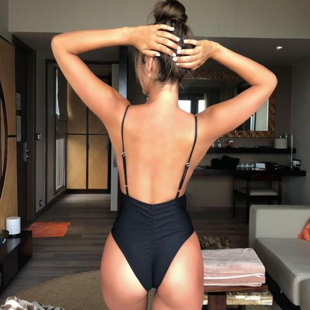 ZAFUL Tie Shoulder Backless Swimsuit 