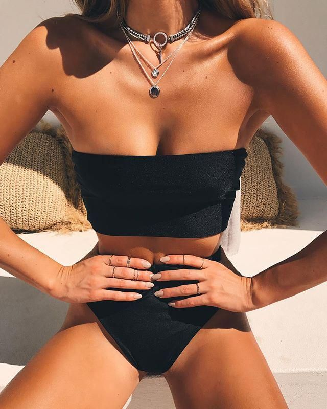 High Cut Bandeau Bathing Suit   Wonderful black bandeau bikini set! Summer is coming time to rebuild your closet with …