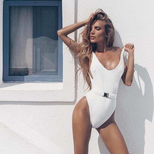 ZAFUL Ribbed Backless Cami Swimsuit 