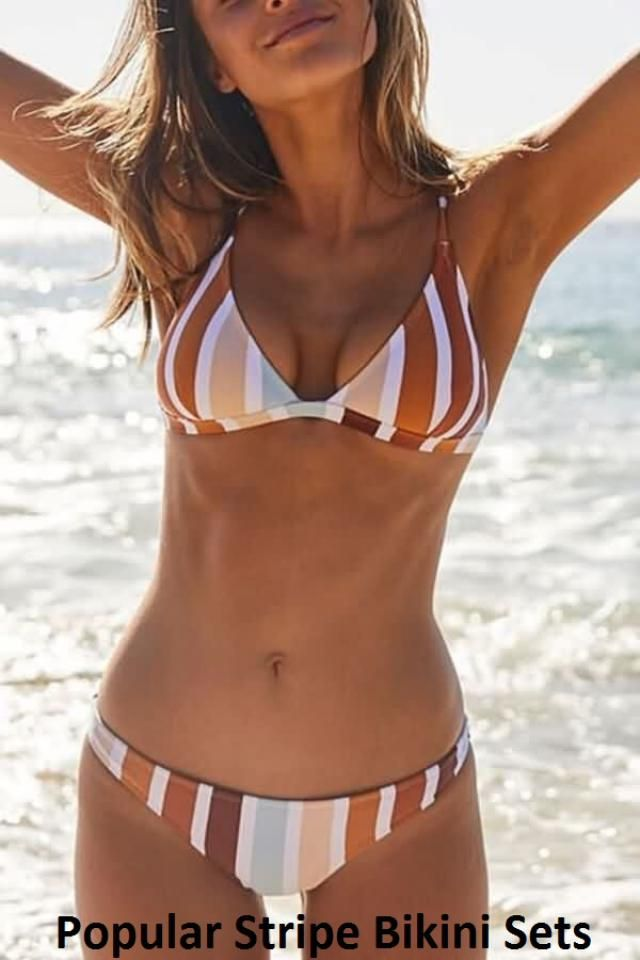 Striped is still in trend. The amazing striped design is also present in the perfect bikini set. Whether you wear them …