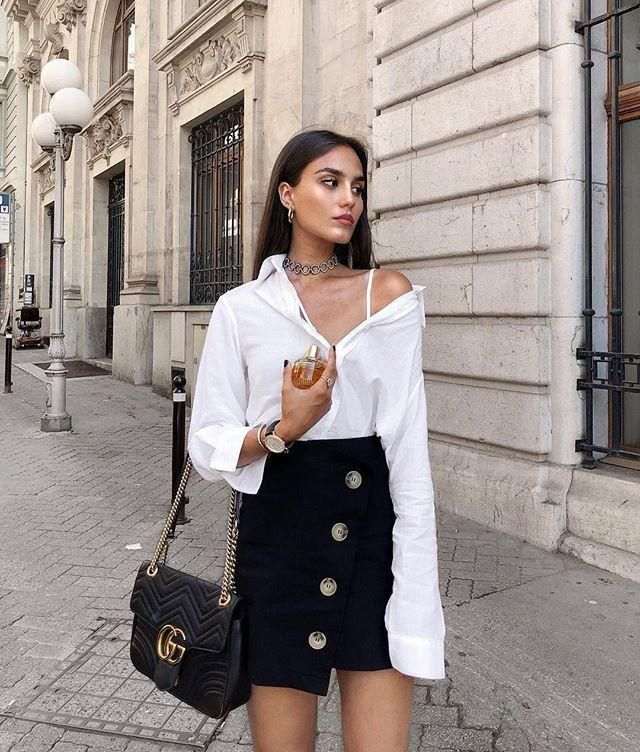 I love this casual chic outfit   &white