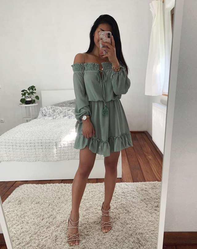 Go feminine and girly by pairing your green off shoulder dress