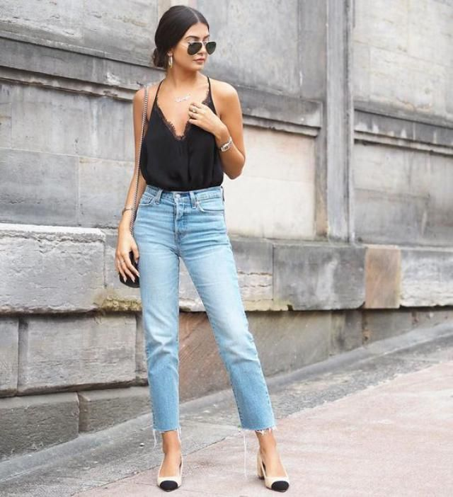 for an effortless beautiful classy look get this lace satin top with boyfriend jeans and some heels