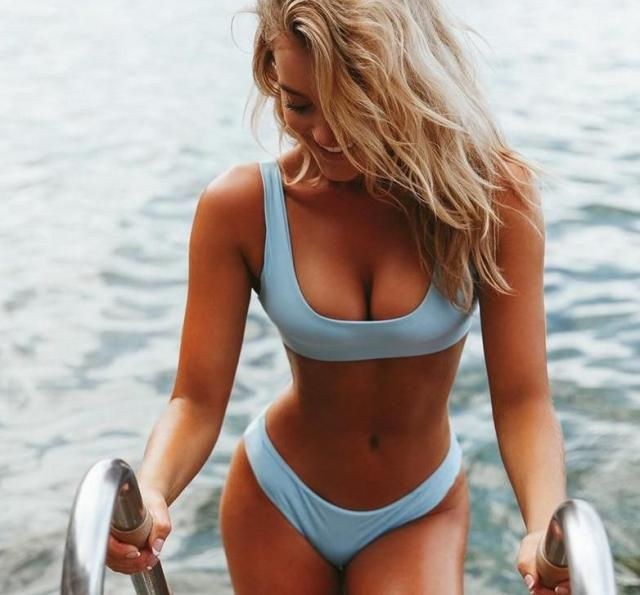 Low Waisted Padded Scoop Bikini Set  Sexy blue bikini set ! Summer is coming, time to rebuild your closet with new swi…