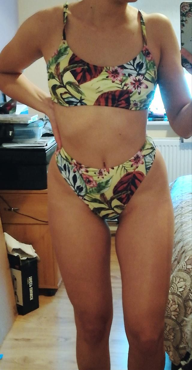 Absolutely love this swimsuit, it's so comfortable! High cut and beautiful design. It's a tiny bit large, fits okay bu…
