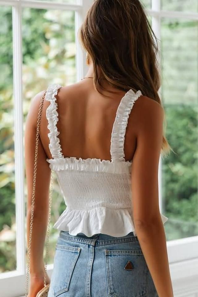 Lace Up Smocked Ruffle Tank Top  NEW in Zaful! Beautiful lace up tank top .Come to Zaful, BUY HERE! Beautiful clothing…