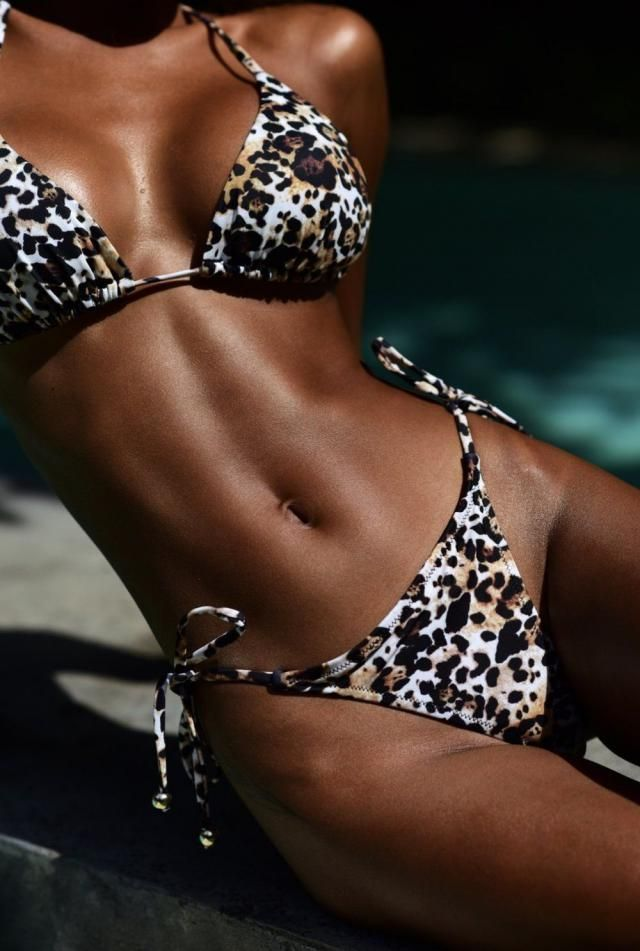 ZAFUL Leopard Tie String Bikini Set 