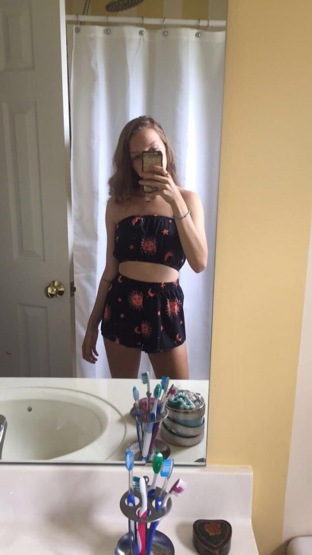 This two piece is really cute but does fit very small. The top is fine but the bottoms are super cheeky. The material …