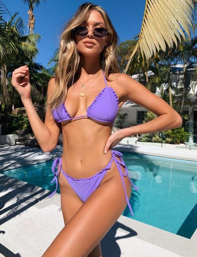 String Bikini Set  Stylish and flamboyant style, this enchanting and sexy bikini perfect for sunbathing on the beach.…