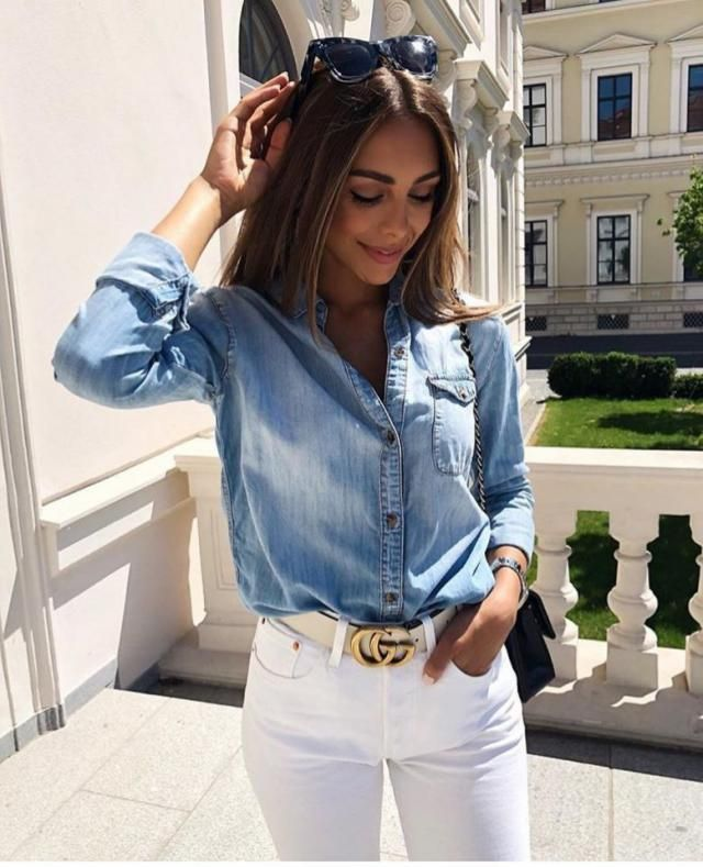 Sometimes you just want to feel relaxed and comfy, but also chic and classy well this denim blouse with white denim jea…