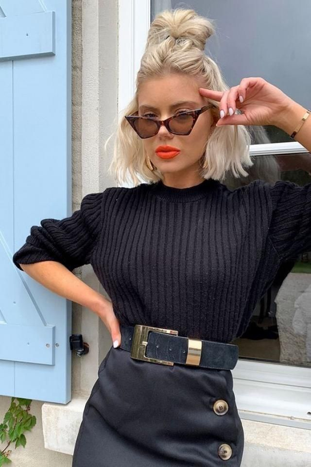 If your style is a little more lady like and you want a classy look try a black sweater with faux leather skirt and don…