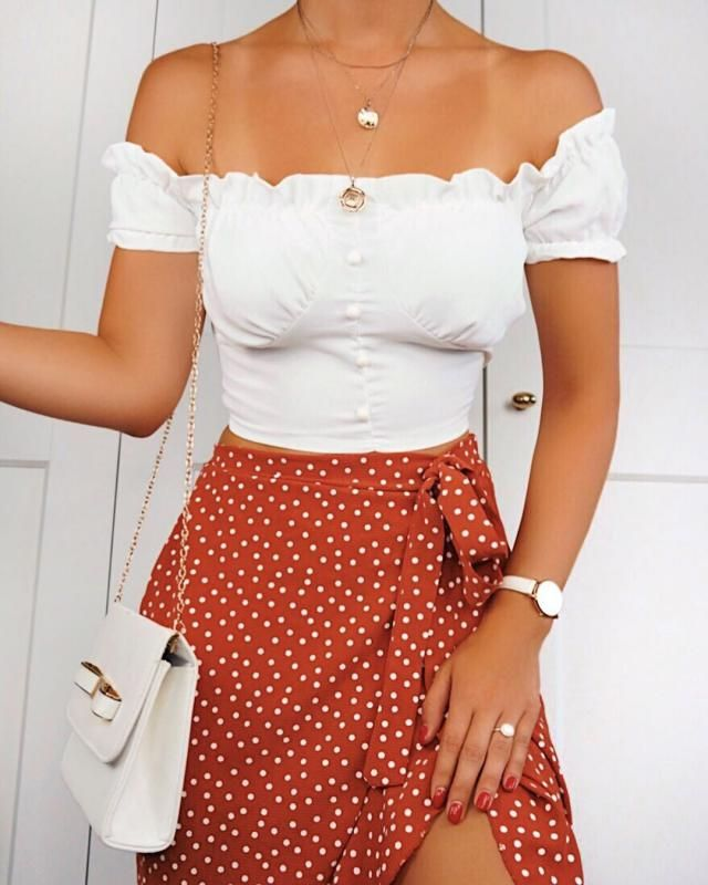 Go for an off shoulder top if you are looking for a feminine chic look
