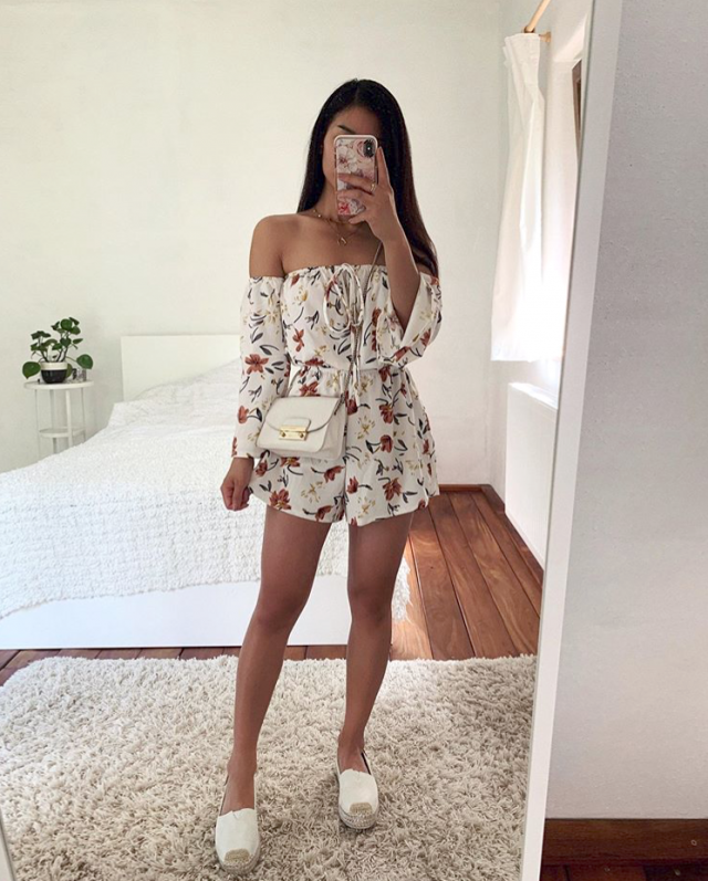 I adore this floral off shoulder romper it looks so pretty
