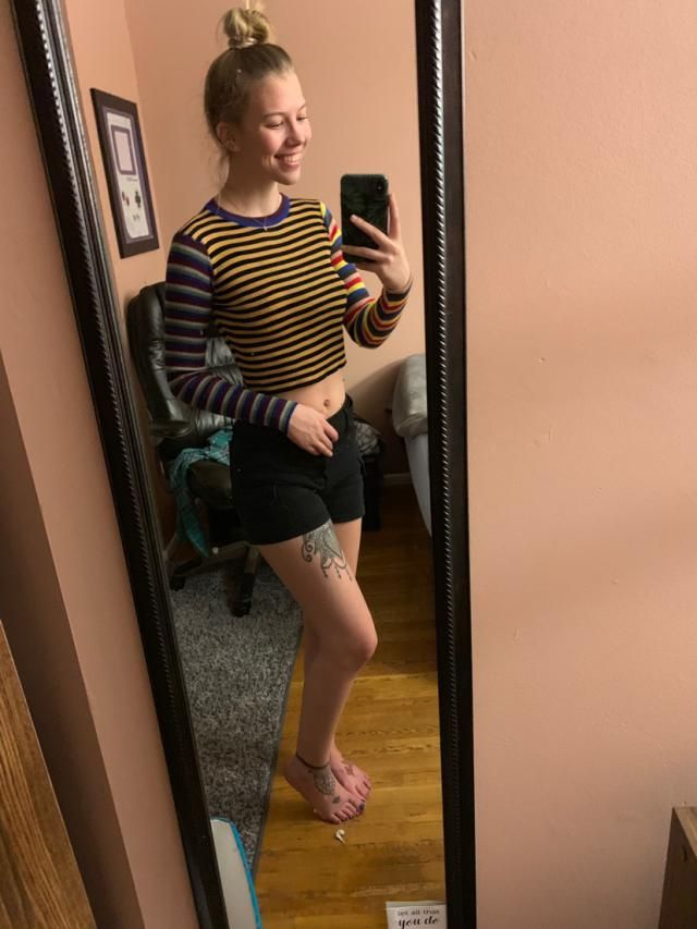 I'm 120 pounds and about 5'8 for reference. I love this shirt. The material is not itchy, a bit see through but nothin…