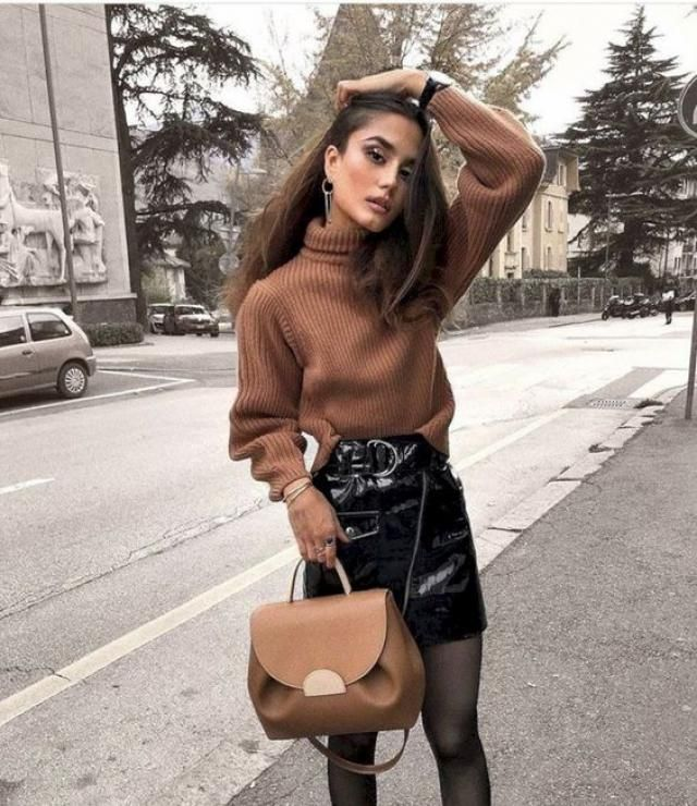 Today, sunshine, leather skirt, sweater