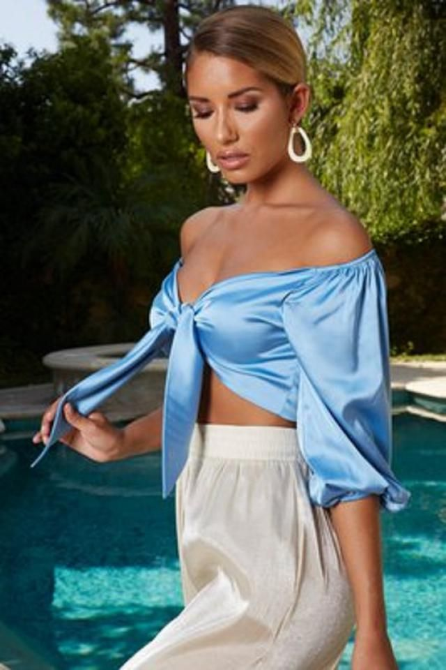 Satin Tie Front Crop Top   New in Zaful-u!!New collection! New season, popular fashion trends!BUY HERE! Beautiful clot…