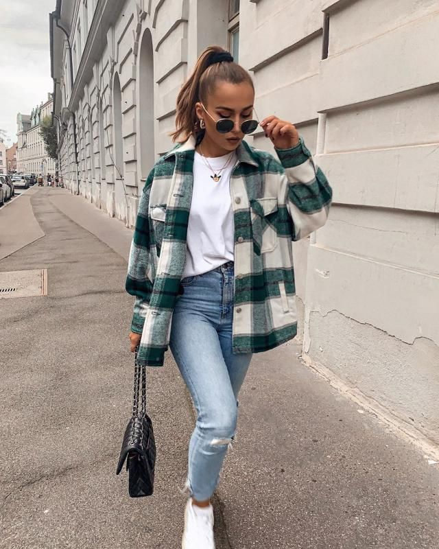 Fluffy Faux Fur Short Plaid Coat   Beautiful jeans and coat plaid.Autumn is at the door, and with it new fashion trend…