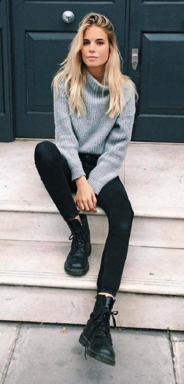Turtleneck Lantern Sleeves Chunky Sweater  Beautiful  jeans and turtleneck sweater .Autumn is at the door, and with it…