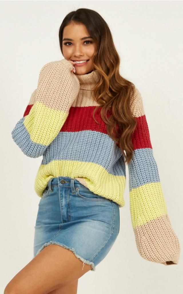 Rainbow Striped Turtleneck Chunky Sweater  Zaful is a unique fashion brand! See for yourself the perfect design and qu…