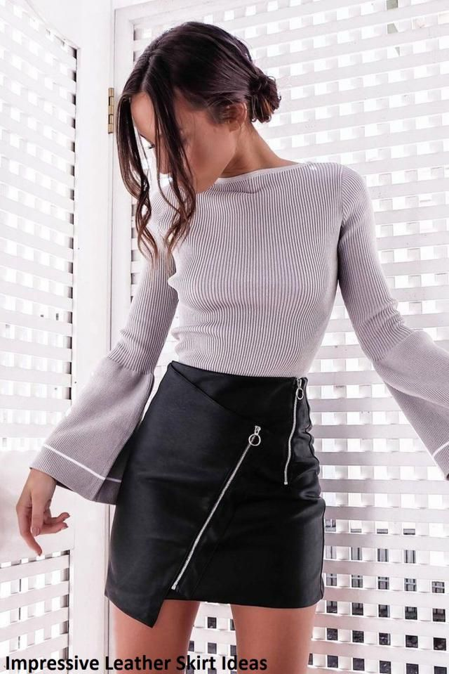 Impressive Leather Skirt Ideas Creating a total look also goes with leather skirts. Just select and determine what wil…