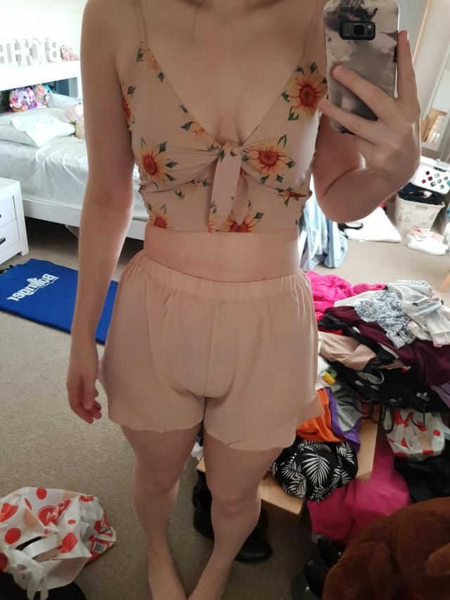 Not a fan of the shorts. They're see through and don't flatter my front so I probably won't wear them. But the top is …