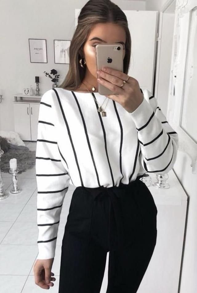 Striped Crossover Draped High Low Top