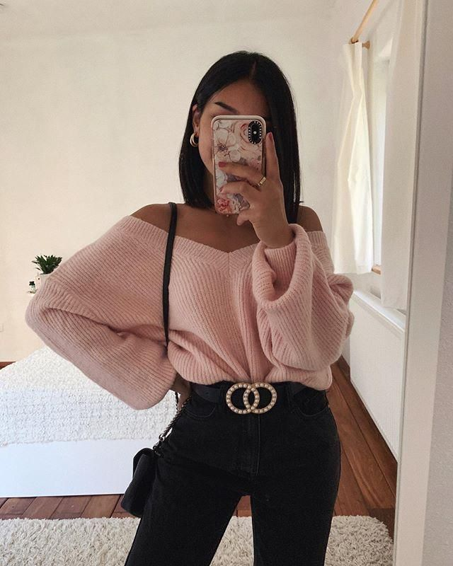 Drop Shoulder V Neck Crop Chenille Sweater