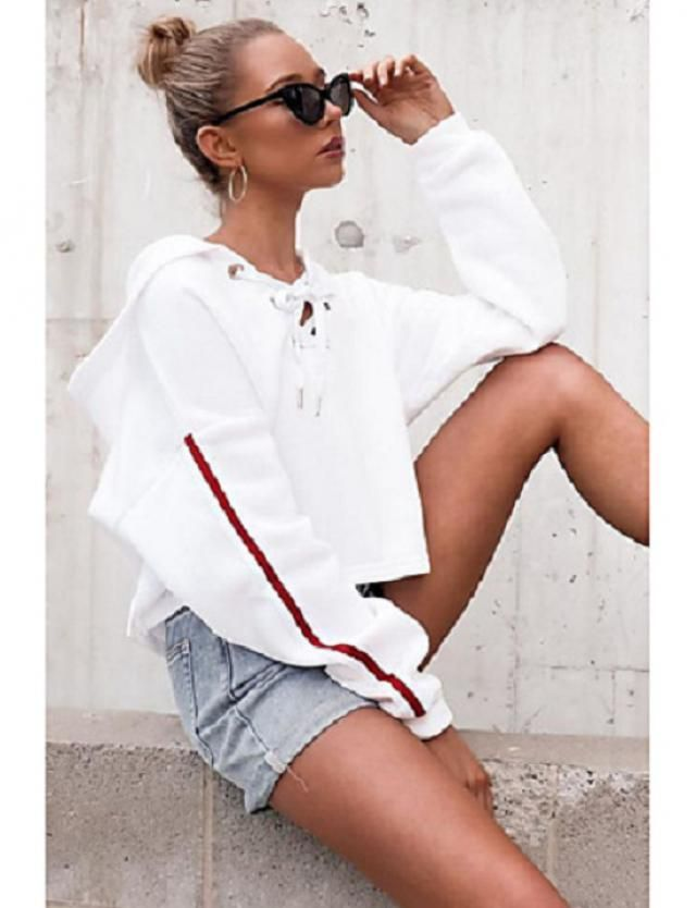 High Waisted Denim Cuffed Shorts   Cute denim shorts and hoodie. Come to Zaful, BUY HERE! Beautiful clothing of all de…