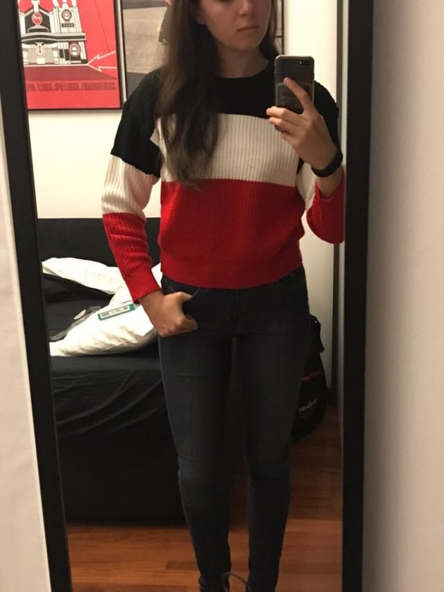 Really nice sweater! It is comfortable and cozy, though the sleeves are a little bit short.. it fits well but it's kin…