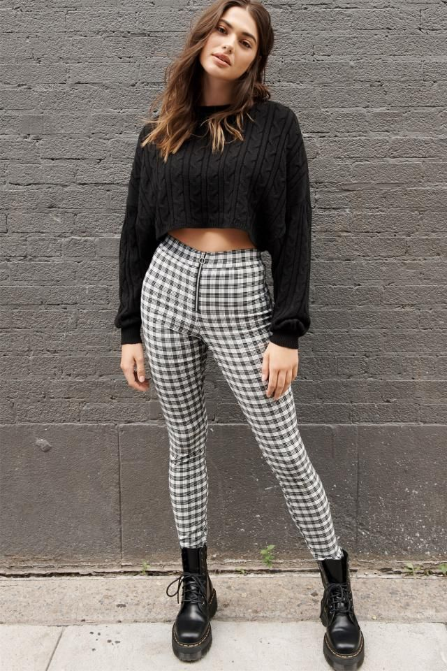 Zipper Gingham Skinny Pants