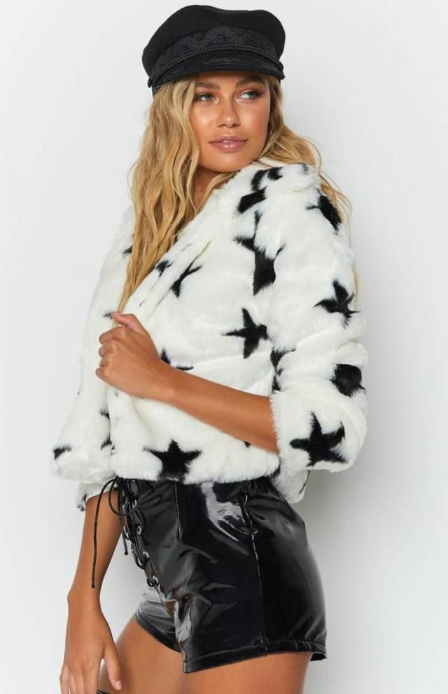 Star Graphic Half Zip Faux Fur Sweatshirt