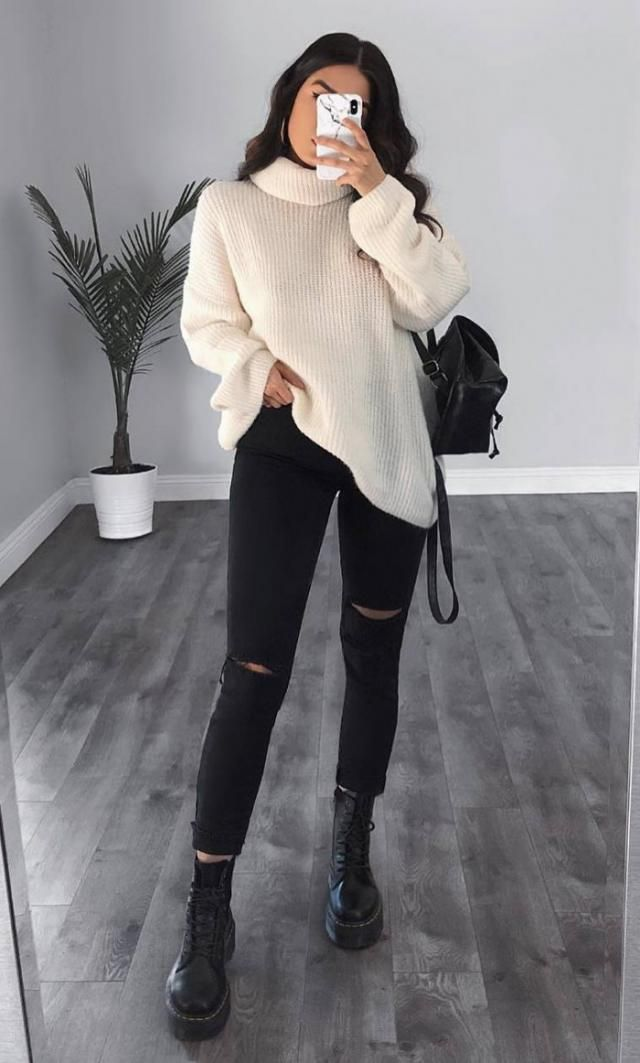 Turtleneck Drop Shoulder Loose Plain Sweater  A nice turtleneck sweater and jeans. Come to Zaful, BUY HERE! Beautiful…