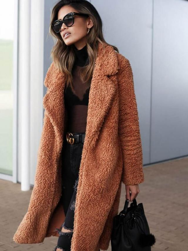 Lapel Collar Plain Faux Fur Teddy Coat  Teddy coats and jacket are essential this season and we are obsessing over thi…