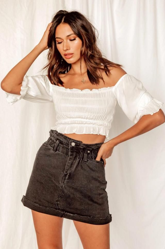 Raw Hem Fitted Mini Denim Skirt Beautiful denim skirt  and smocked blouse . Zaful offers you a large selection of qual…