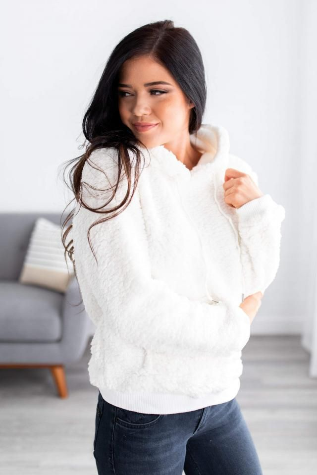 ZAFUL Fluffy Faux Fur Tetxured Hoodie