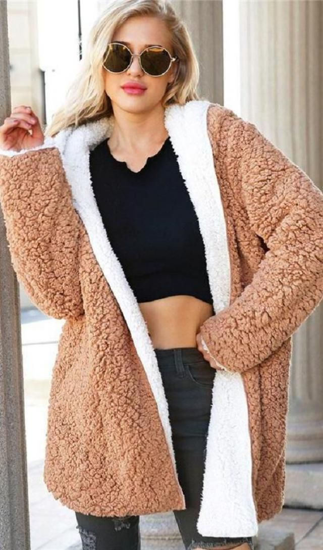 Hooded Faux Shearling Teddy Coat  Teddy coats and jacket are essential this season and we are obsessing over this coat…