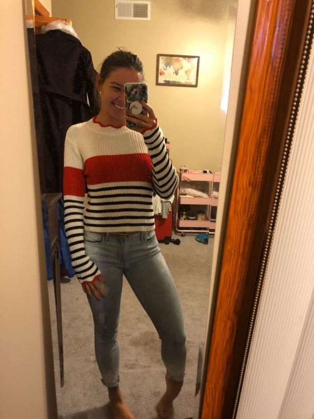 This was a super weird feeling sweater and I wasn't sure about the one size fits all but it's super cute on. It's more…