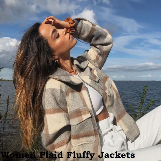 Women Plaid Fluffy Jackets All the jackets you want are right here,in Zaful-u from lightweight denim jackets to cozy f…