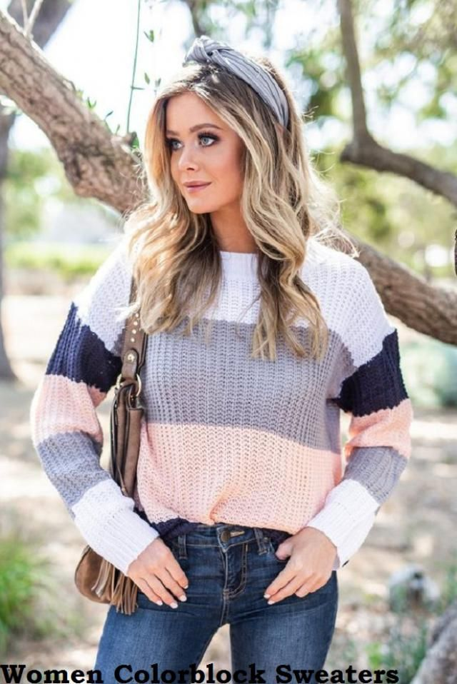 Ideas For Women Color Blockers Sweaters Let&;s be trendy this fall! These sweaters are perfect for hanging out…
