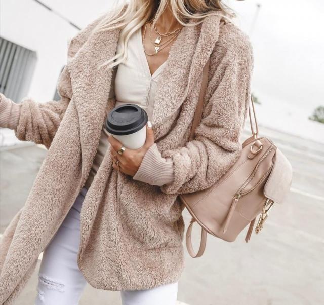 Solid Color Hooded Fluffy Teddy Coat Odaberite svestrane plišane kapute ili džempere tvrtke Zaful. Kupujte u  Zafulu, …