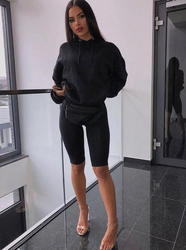 Cropped Drop Shoulder Pullover Hoodie And  Biker Shorts  Zaful is your go-to brand for women's activewear.