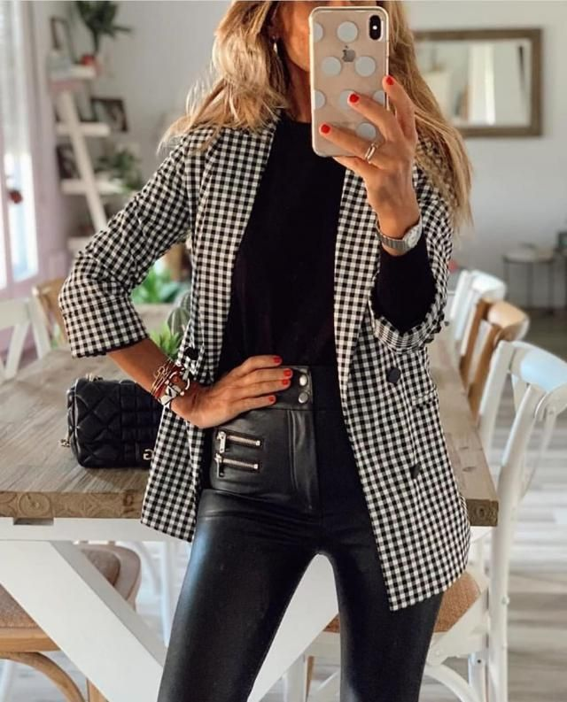 ZAFUL Cuffed Mock Button Gingham Blazer    Pay attention to the fit and shape of your outfit. Dress with style! Come …
