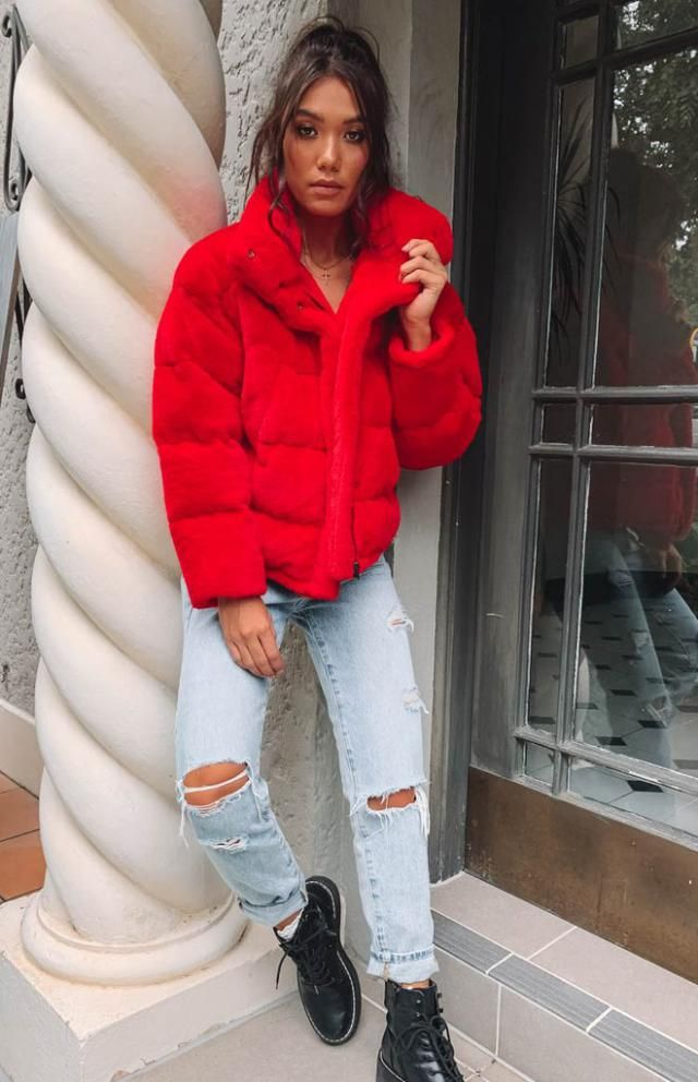 Snap Button Drawstring Pocket Padded Coat  Beautiful red coat with jeans and boots. BUY HERE! Beautiful dresses and cl…