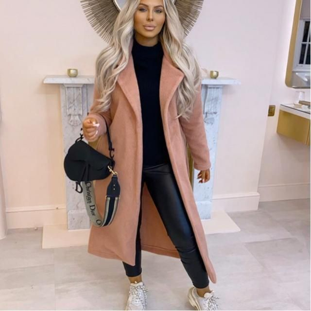 ZAFUL Belted Turndown Collar Wrap Coat 